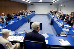 U.S. Secretary of State John Kerry meets with representatives from various non-governmental organizations and other groups on July 22, 2016, at the Vienna International Center in Vienna, Austria, amid negotiations to amend the Montreal Protocol climate change agreement. [State Department Photo/ Public Domain]