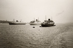 After we (Prinses Beatrix - SMZ, 1939-1968) passed the Amsterdam (British Rail/Sealink, 1950-1970) , the Winston Churchill (DFDS, 1967-1996) passes the Stafford (DFDS, 1967-1984)