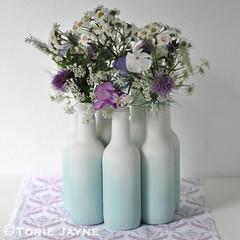 upcycled bottle vases