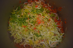 Chicken Stock in the Making: Coarse Mirepoix