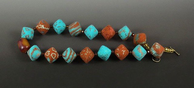 Wet Felted Beads in Jade and Nutmeg