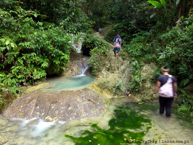 We had to climb this series of pools while getting our feet wet. Hiking to Kalubihon Falls in Iligan City, Philippines