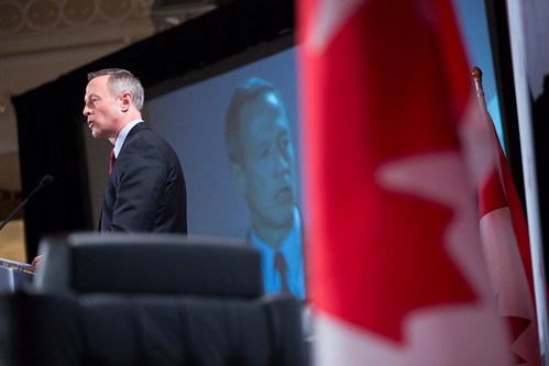 Justin speaks with Governor of Maryland Martin O'Malley during a Q&A hosted by Canada 2020 in Ottawa. November 26, 2014.