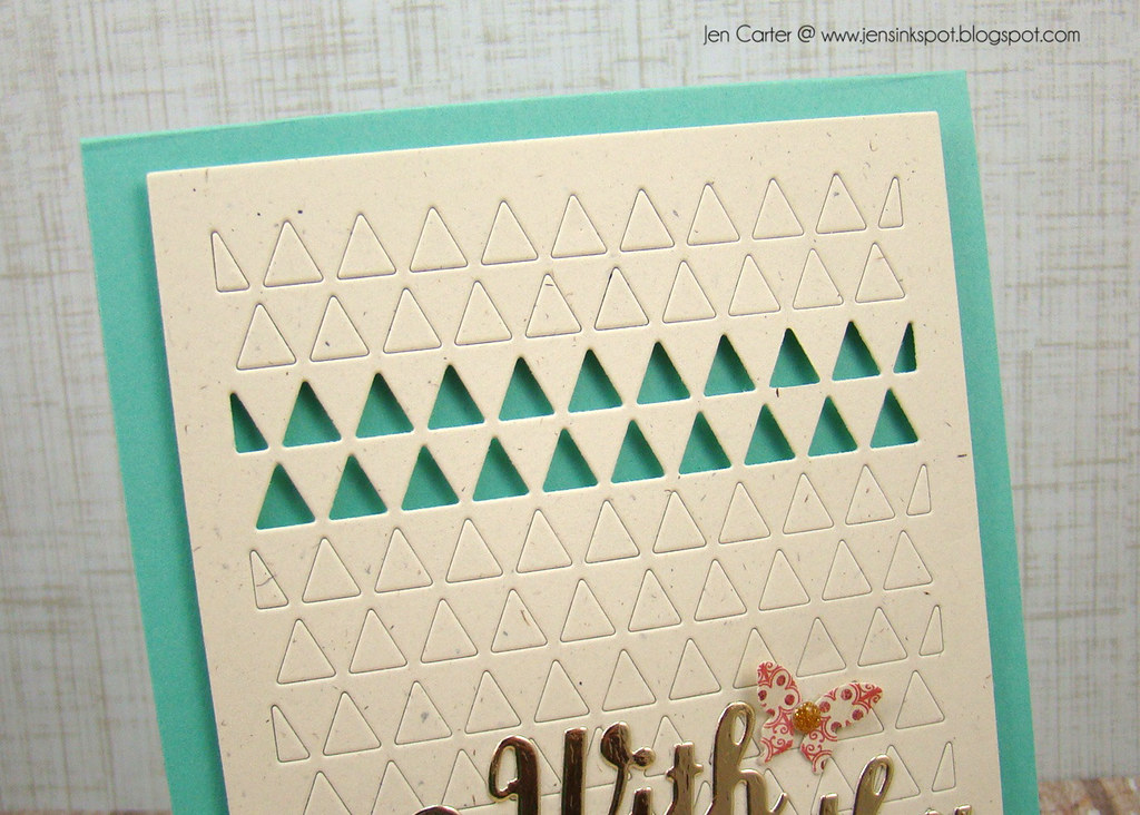 Jen Carter With Sympathy Triangles Frantic Stamper Blue Closeup Top