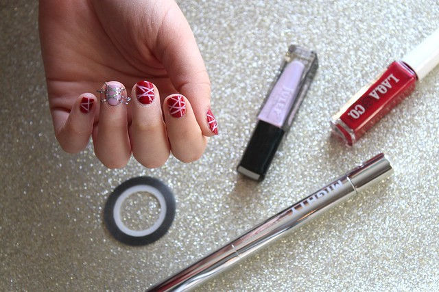 How to do a Tape Striped Manicure | Valentine's Day Nails | #LivingAfterMidnite