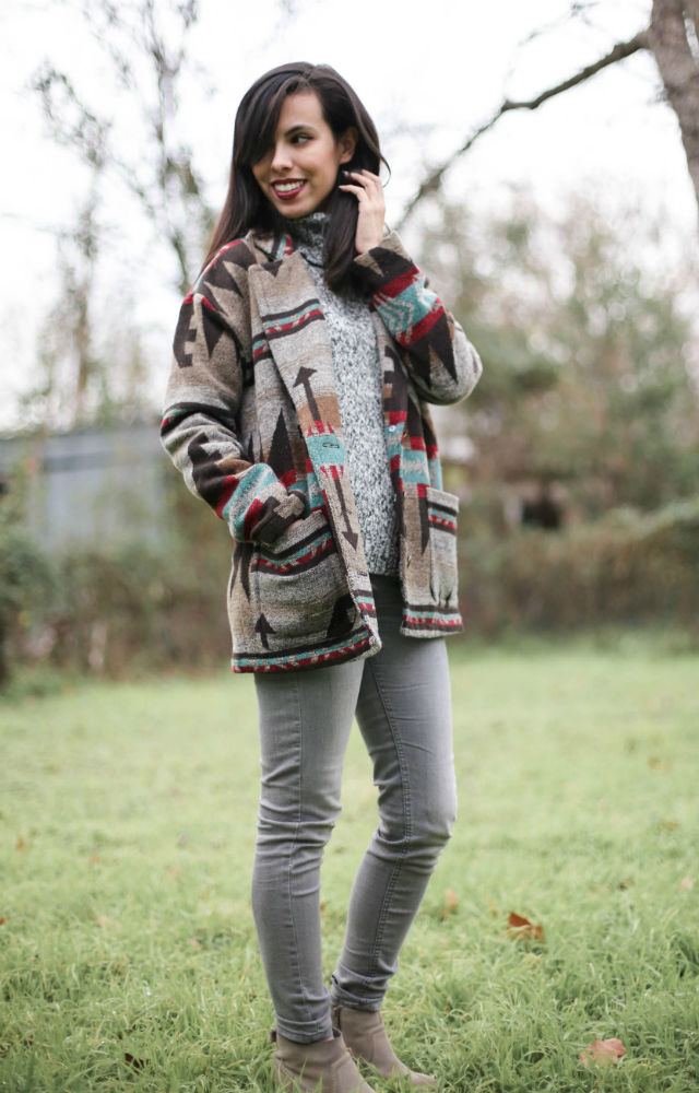 aztec tribal coat, austin texas style blogger, austin fashion blogger, austin texas fashion blog