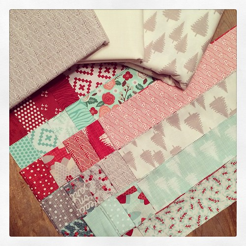 Fabrics picked and gathered! I'm mixing Into the Woods with @kateandbirdie's Winterberry collection for a scrappy Christmas quilt. So happy to marry these two together. #intothewoodsfabric #winterberryfabric #apqquiltalong #quilting