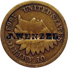 J. WENZEL Counterstamp on 1863 Cent obverse