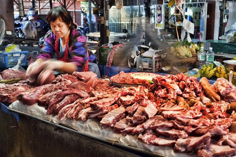 Fresh Meat Vendor, Somphet Market, Chiang Mai, Thailand