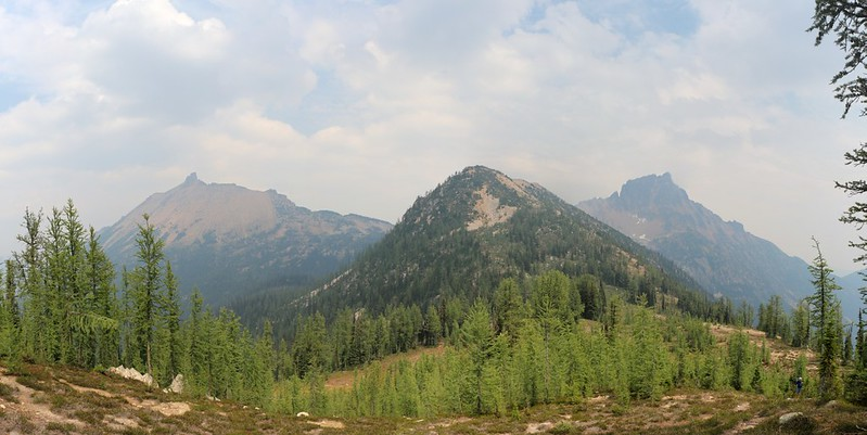 Golden Horn, Peak 7140, and Tower Mountain from just above our campsite at Methow Pass.