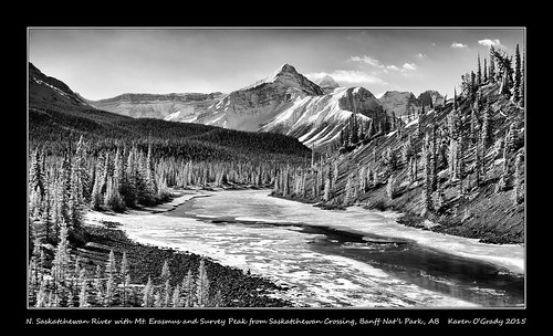 North Saskatchewan River with Mount Erasmus and Survey Peak from Saskatchewan Crossing, Banff National Park, Alberta
