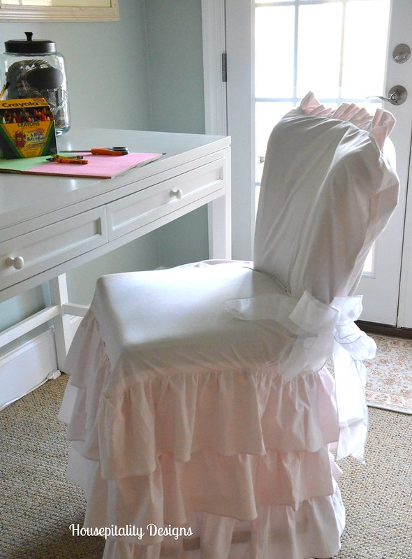 Ruffled Chair Slipcover-Housepitality  Designs