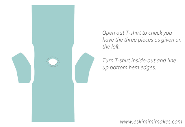 T-shirt shape modification: layout of pieces