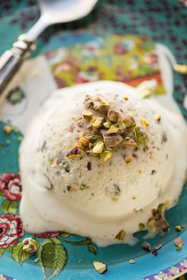Cardamom, Rosewater and Pistachio Kulfi www.pineappleandococonut.com