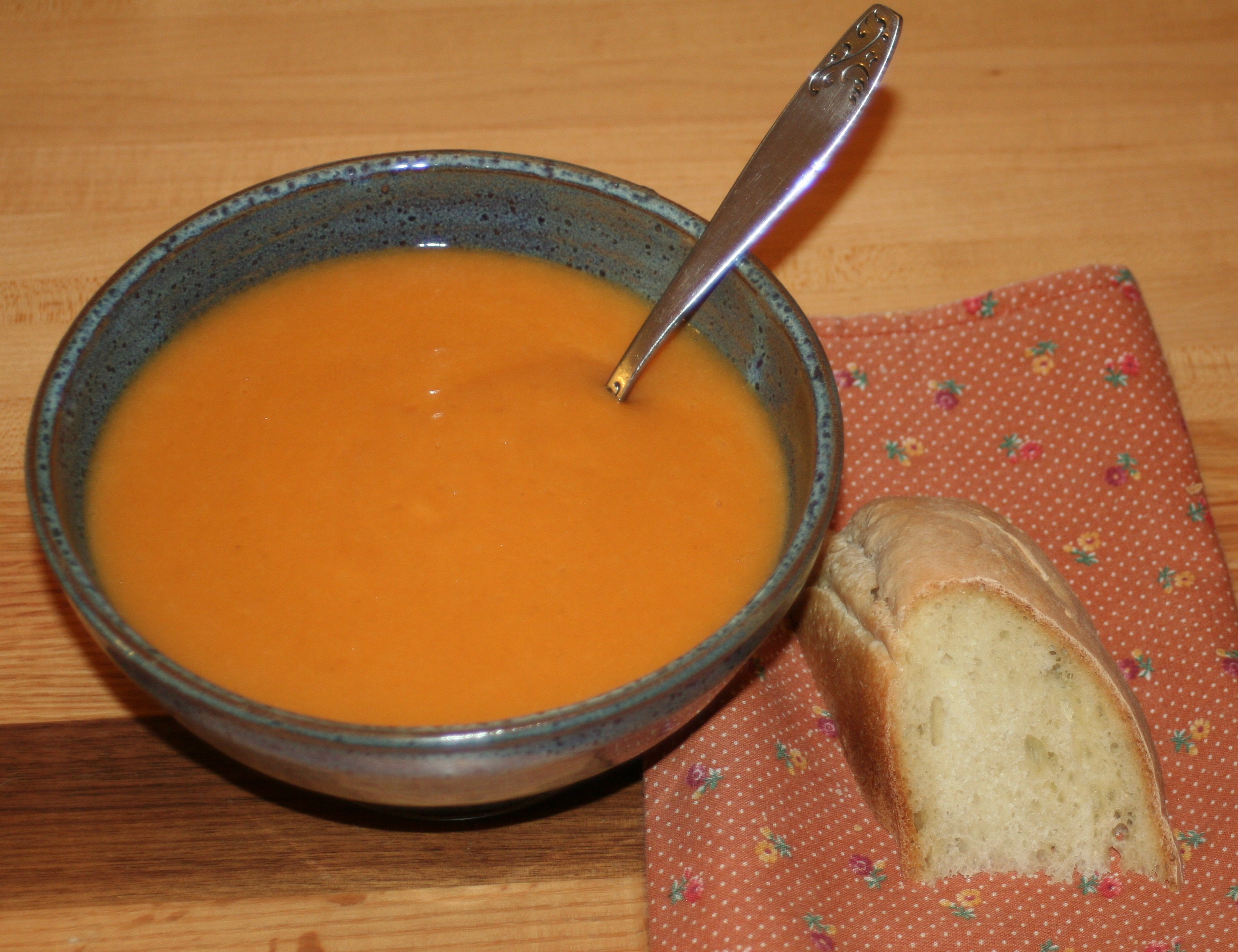 Carrot soup and crusty bread