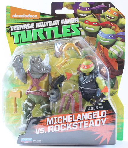 "Nickelodeon  TEENAGE MUTANT NINJA TURTLES :: Goodie vs. Baddie Twin Pack; ""MICHELANGELO vs.  ROCKSTEADY"" i  (( 2015 ))  [[ Courtesy of Hero ]]"