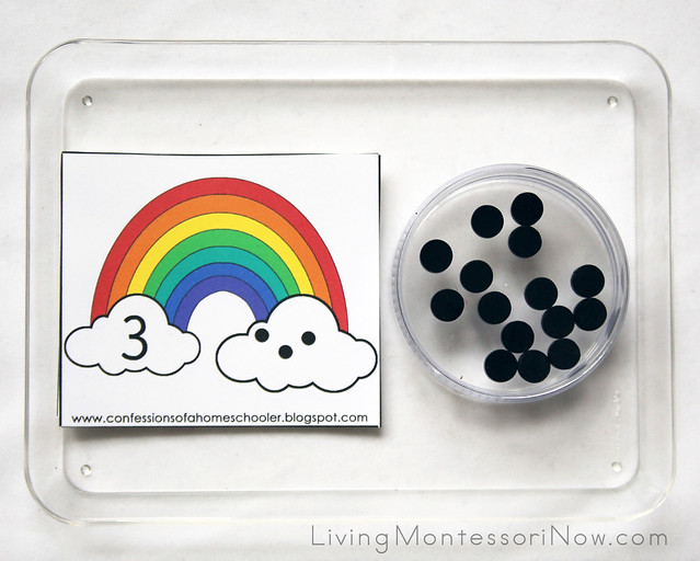 Rainbow Counting Cards and Wooden Dots