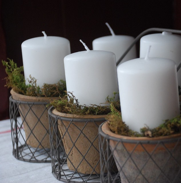 Candles in Mossy Terra Cotta Pots and Wire Basket
