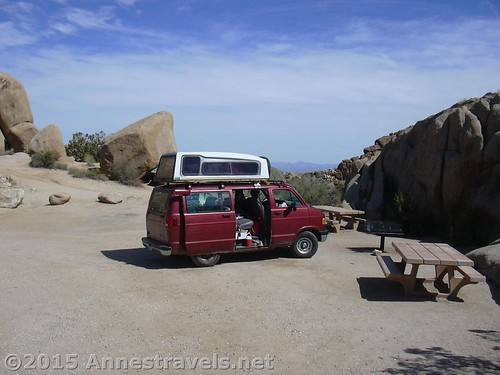 In Joshua Tree National Park, California with our diy hard sided roof top camper