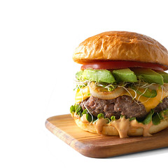 california burger avocado slices sprouts chipotle…