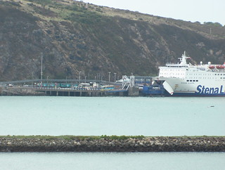 Stena Europe ferry and class 150 train at Fishguard Harbour