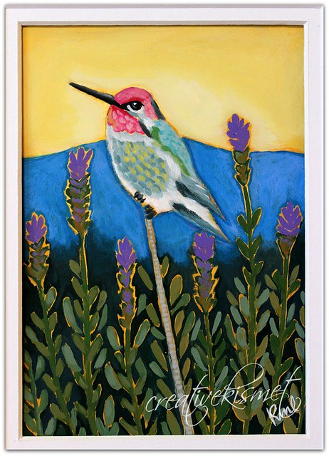 Hummingbird in Lavender Field - art by Regina Lord