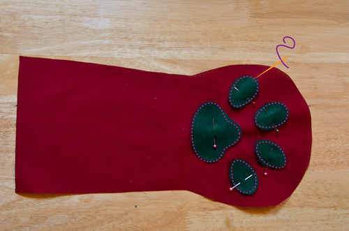Step 4: Pin & Sew Paw Pieces