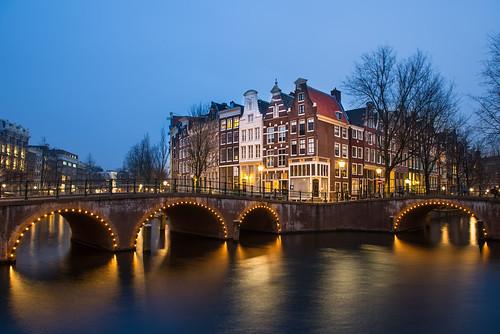 bridge holland netherlands amsterdam night canal nikon bluehour keizersgracht d800 leidsegracht 2470