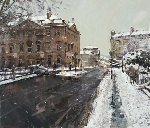 Peter Brown - private collection. Snow, Queen Square and Charlotte Street (2010)