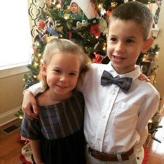Sally Dress and bow tie in matching fabric for Christmas 2014.