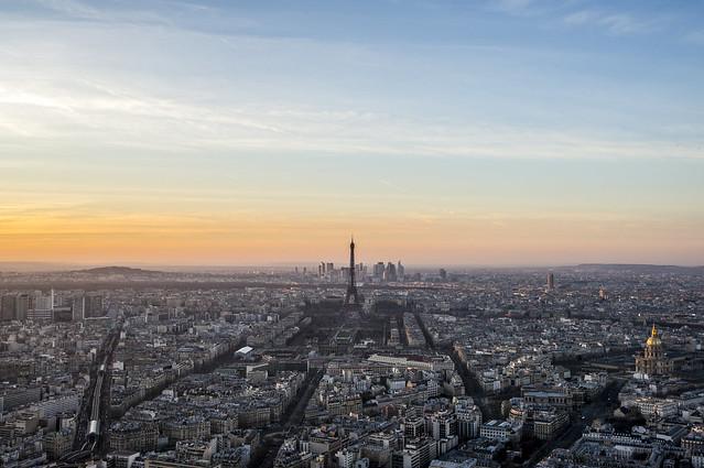 Vue sur Paris depuis Montparnasse, fin d'après-midi