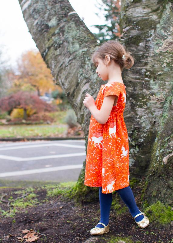 orange unicorn roller skate dress // skirt as top