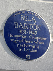 Photo of Béla Bartók blue plaque