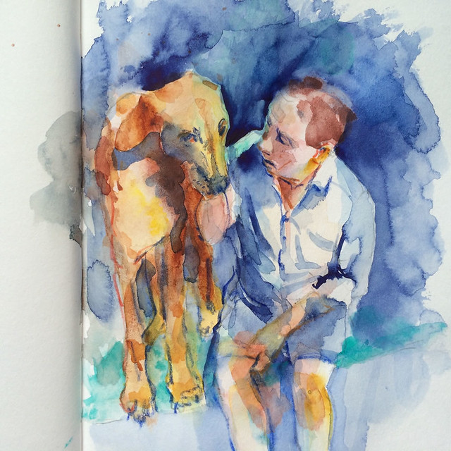 "Watercolour painting by Ako Lamble ""Mike and Henry"" Process4"