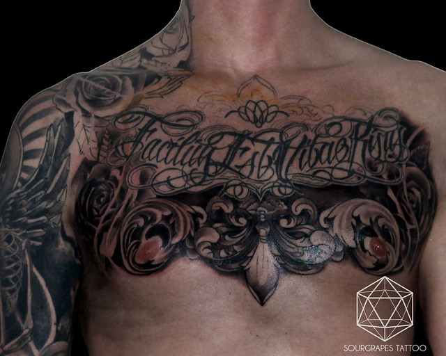 Chest Filigree Script Rose Tattoo (in progress)