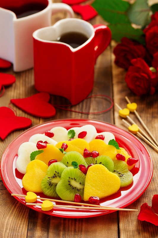 Fruit salad in the form of hearts on Valentine's Day.