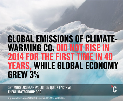 Global CO2 emissions stall in 2014 while global economy grew 3%