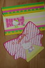 Hello Kitty pastel yellow striped envelope & bow candy design die cut notelet
