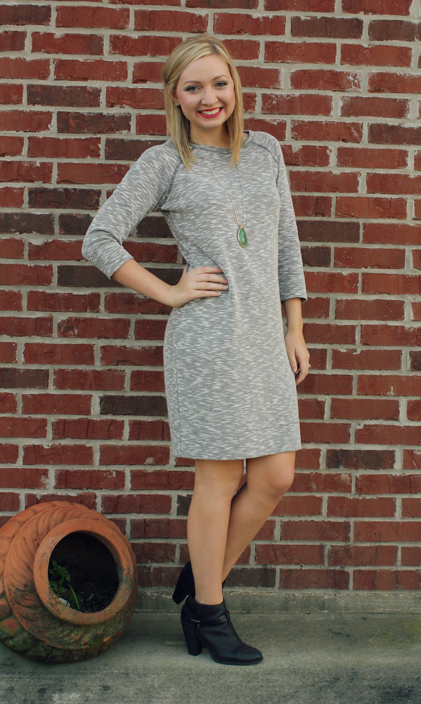 gray dress + long necklace + booties