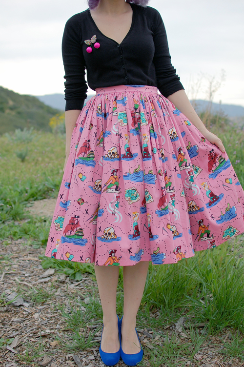 Pinup Girl Clothing Neverland Jenny skirt Luxulite brooch