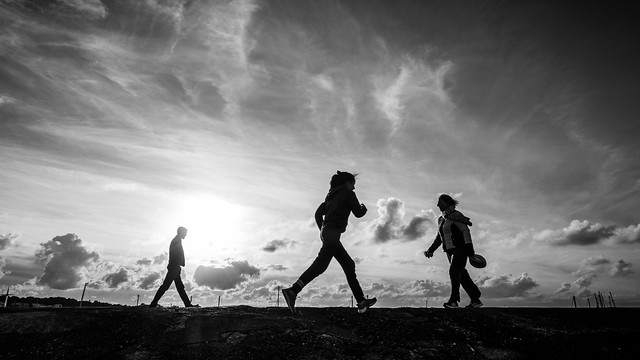 People in Howth - Dublin, Ireland - Black and white street photography