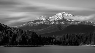 Mt Shasta in black and white