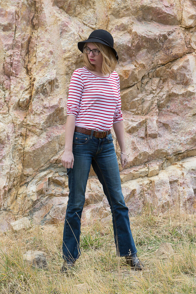 ankle boots, flare jean, striped shirt, popbasic,