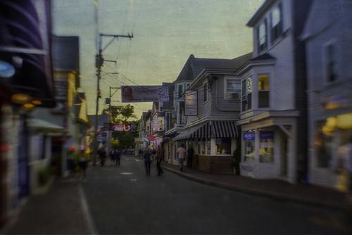 street people vintage twilight cityscape dusk provincetown capecod massachusetts streetview citystreet