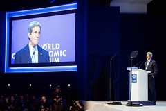 U.S. Secretary of State John Kerry delivers a speech about violent extremism to World Economic Forum attendees in Davos, Switzerland, on January 23, 2015. [State Department photo/ Public Domain]