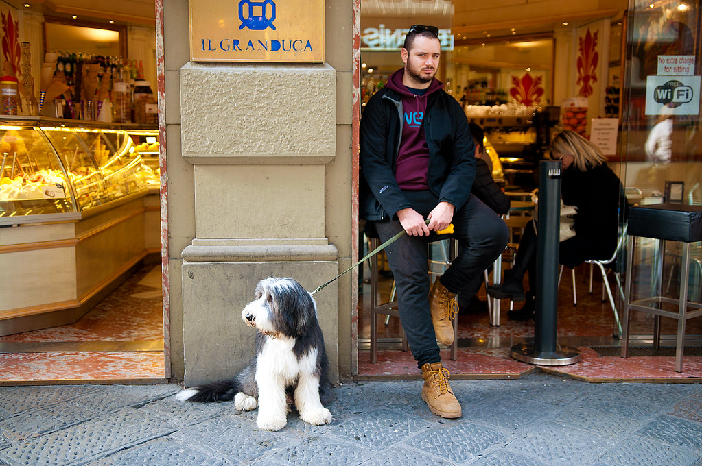 Man with Dog at Cafe