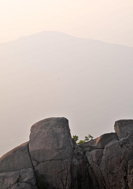 Rocks and hazy horizon