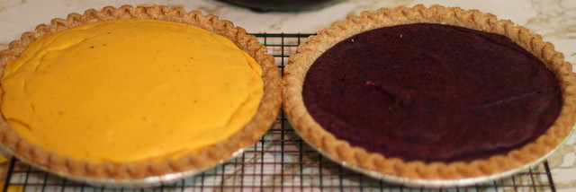 Persimmon and Blueberry Pies