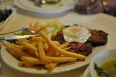 meal, dinner, lunch, breakfast, supper, steak, brunch, steak frites, french fries, food, dish, cuisine,