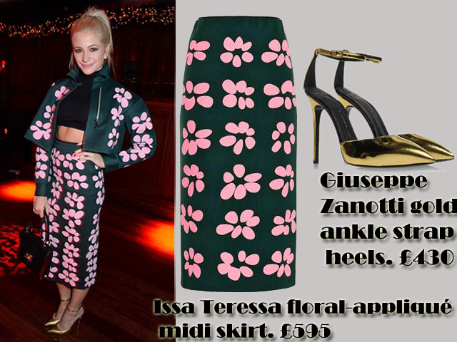 Pixie's-flower-power-ensemble,Giuseppe Zanotti gold ankle strap heels, funky floral print two-piece, cropped jacket, pencil skirt, midi length pencil skirt, sixties inspired look, sixties inspired style, Co-ord set trend, Co-ords set trend, Issa Sybil embroidered tourmaline flower print jacket